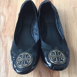 Tory Burch Patent Leather Black Flats - Caroline
